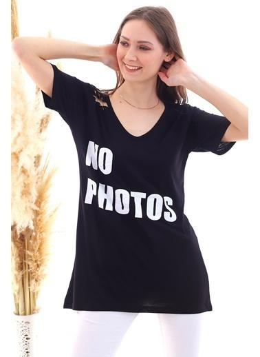 Cottonmood 20050508 Süprem No Photos Baskılı Omuzu Yırtıklı Tunik Siyah